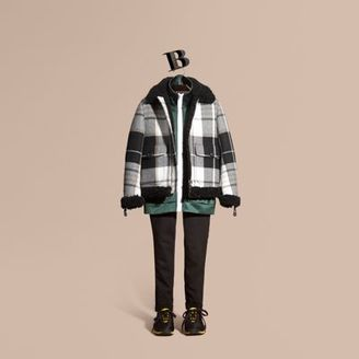 Burberry Shearling-trimmed Tartan Wool Flight Jacket $3,195 thestylecure.com