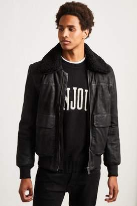 French Connenction Washed Leather Sheepskin Jacket