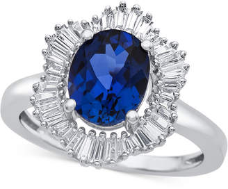 Macy's Lab-Created Blue Sapphire (1-7/8 ct. t.w.) and White Sapphire (3/4 ct. t.w.) Ring in Sterling Silver