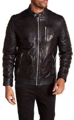 LAMARQUE Quilted Shoulder Leather Racer Jacket