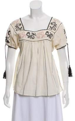 Ulla Johnson Embroidered Draped Blouse