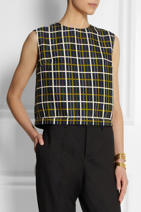 Marni Graphic Lines open-back cotton and silk-blend top