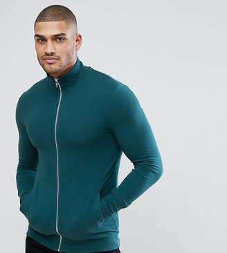 Asos TALL Muscle Track Jacket In Green