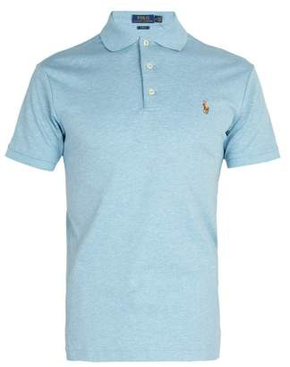 Polo Ralph Lauren Logo Embroidered Cotton Jersey Polo Shirt - Mens - Blue