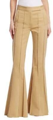 Rosie Assoulin Pleated Khaki Flare Pants