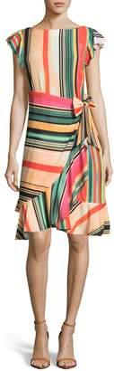 ECI Multi Stripe Front Wrap Dress