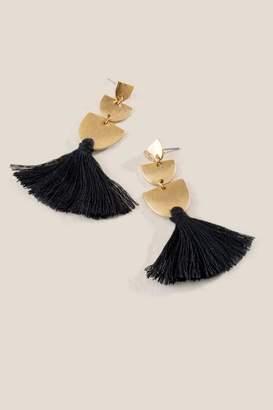francesca's Becky Crescent Drop Tassel Earrings - Black