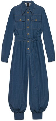 Gucci Belted denim jumpsuit