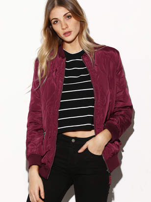 Shein Contrast Ribbed Trim Quilted Bomber Jacket