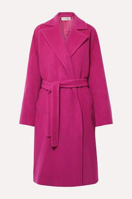 Balenciaga Belted Camel Hair-blend Coat - Fuchsia