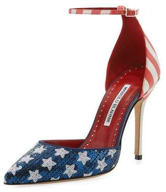 Manolo Blahnik Zaka Stars & Stripes Sequin Ankle-Strap Pumps