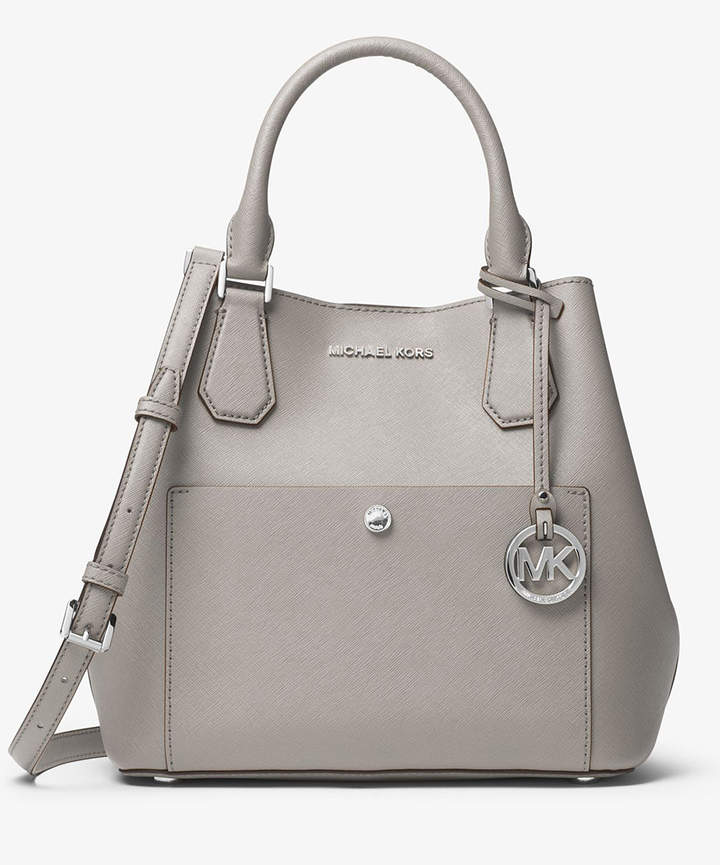 Michael Kors Pearl Gray Saffiano Leather Satchel - PEARL - STYLE