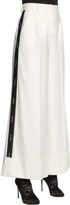 Dolce & Gabbana Logo Band Cool Wool Wide Leg Pants