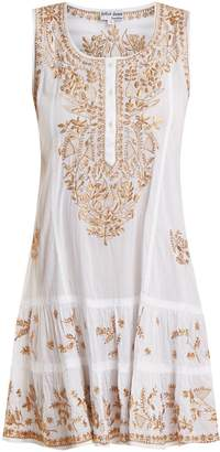 Juliet Dunn Floral-embroidered cotton mini-dress