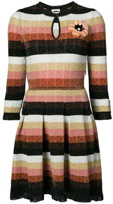 Fendi mink fur floral patch stripe lurex dress