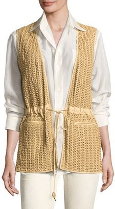 Ralph Lauren Collection Tracy Woven Leather Drawstring Vest, Tan $2,990 thestylecure.com