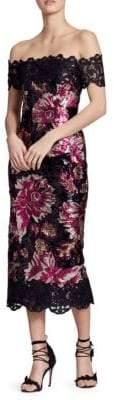 Marchesa Off-The-Shoulder Sequin Midi Dress