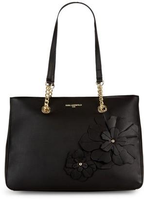 Karl Lagerfeld Paris Kristina Top-Zip Faux-Leather Applique Tote