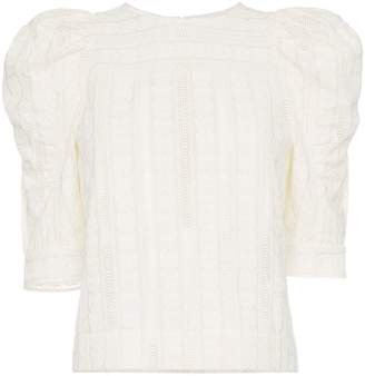 Chloé owl-eye embroidered cotton voile top