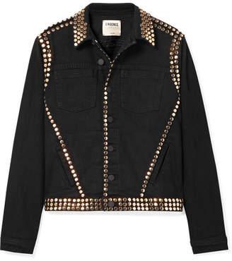 L'Agence Celine Studded Denim Jacket - Black