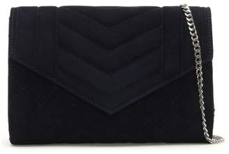 Daniel Alcove Navy Suede Quilted Clutch Bag