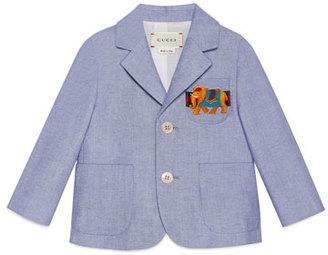 Gucci Cotton Oxford Suit Jacket, Light Blue, Size 12-36 Months $525 thestylecure.com