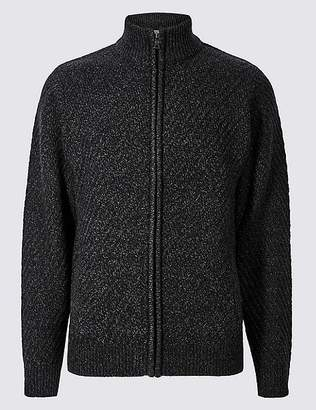 Marks and Spencer Textured Zip Through Cardigan