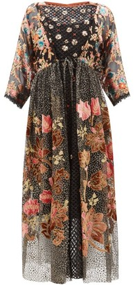 Biyan Inggrid Embroidered Patchwork Devore Dress - Womens - Black Pink