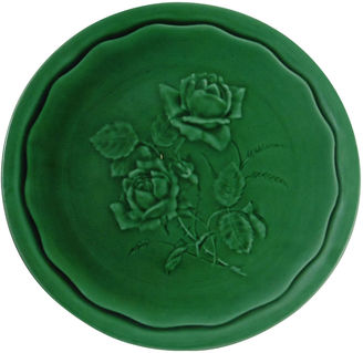 Green Majolica Roses Plate