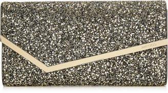 Jimmy Choo ERICA Gold Mix Star Coarse Glitter Fabric Clutch Bag