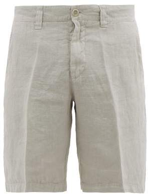 120% Lino Linen Straight Leg Shorts - Mens - Grey
