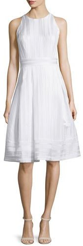 Carmen Marc ValvoCarmen Marc Valvo Sleeveless Pleated Fit & Flare Dress, White