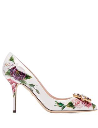 Dolce & Gabbana Rose-print patent-leather pumps