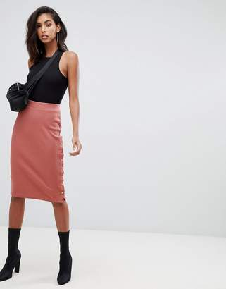 Missguided ribbed popper detail midi skirt in rose