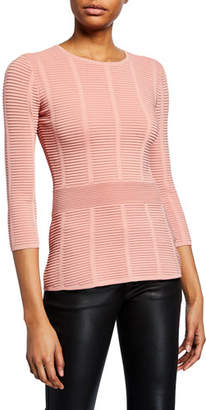 Emporio Armani Mayfair 3/4-Sleeve Ottoman Ribbed Sweater