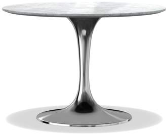 "Williams-Sonoma Tulip Round Nickel Dining Table, 42"", Carrara Marble"
