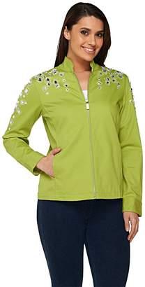 Bob Mackie Bob Mackie's Square Jeweled Embellished Denim Jacket