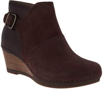 Dansko Nubuck or Suede Stacked Wedge Ankle Boots - Shirley