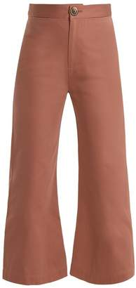 Sea Sailor Kick Flare Cotton Cropped Trousers - Womens - Pink