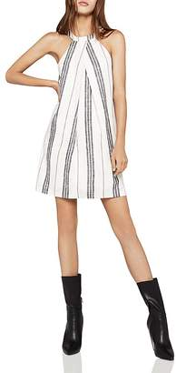 BCBGeneration Sleeveless Pleat-Front Stripe A-Line Dress