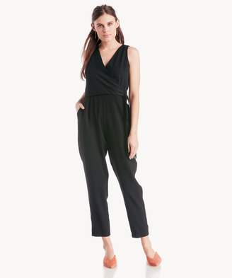 Sole Society Wrap Front Tie Waist Soft Twill Jumpsuit