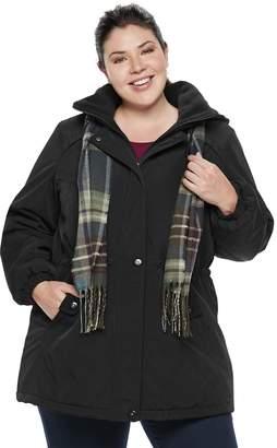 Gallery Plus Size Hooded Faux-Silk Anorak Jacket