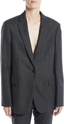 Calvin Klein One-Button Notched-Collar Worsted Wool Check Oversized Jacket