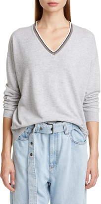 Brunello Cucinelli Monili Trim Cashmere Boyfriend Sweater