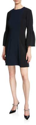 Sachin + Babi Chile 3/4 Trumpet-Sleeve Colorblock Dress