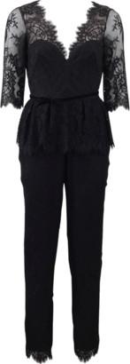 Marchesa Belted Lace Jumpsuit
