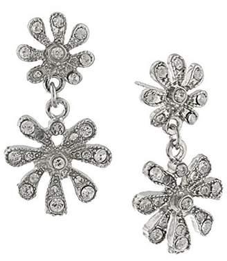 1928 Jewelry Silver-Tone Crystal Flower Drop Earrings