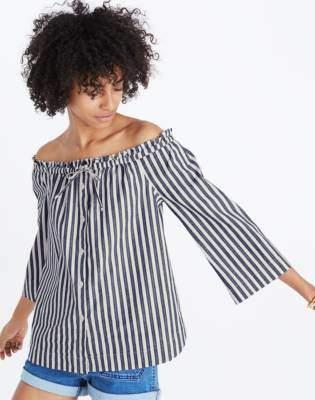 Madewell Shimmer Stripe Off-the-Shoulder Top
