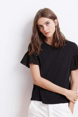 Velvet by Graham & Spencer MAUREEN COTTON CONTRAST RUFFLE SLEEVE TEE
