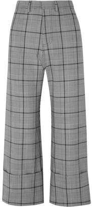 Sea Bacall Cropped Checked Woven Wide-leg Pants - Gray